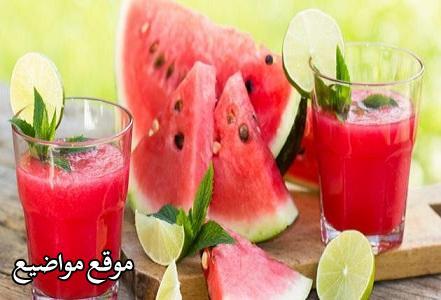 طريقة عمل عصير البطيخ المثلج بالزبادي والليمون والنعناع